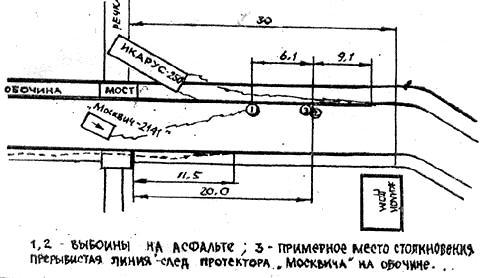 Схема ДТП, в котором погиб