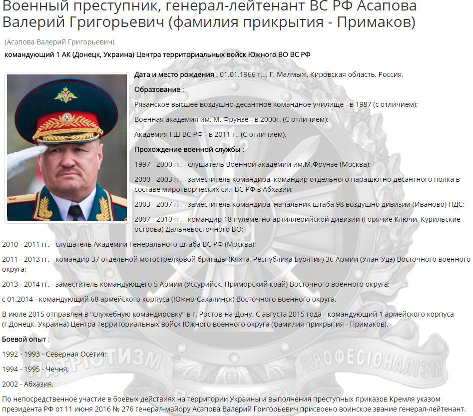 Военный преступник, генерал-лейтенант ВС РФ Асапов  Валерий Григорьевич (фамилия прикрытия - Примаков)