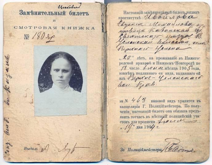 Удостоверение проститутки на право работы на Нижегородской ярмарке на 1904-1905 годы.